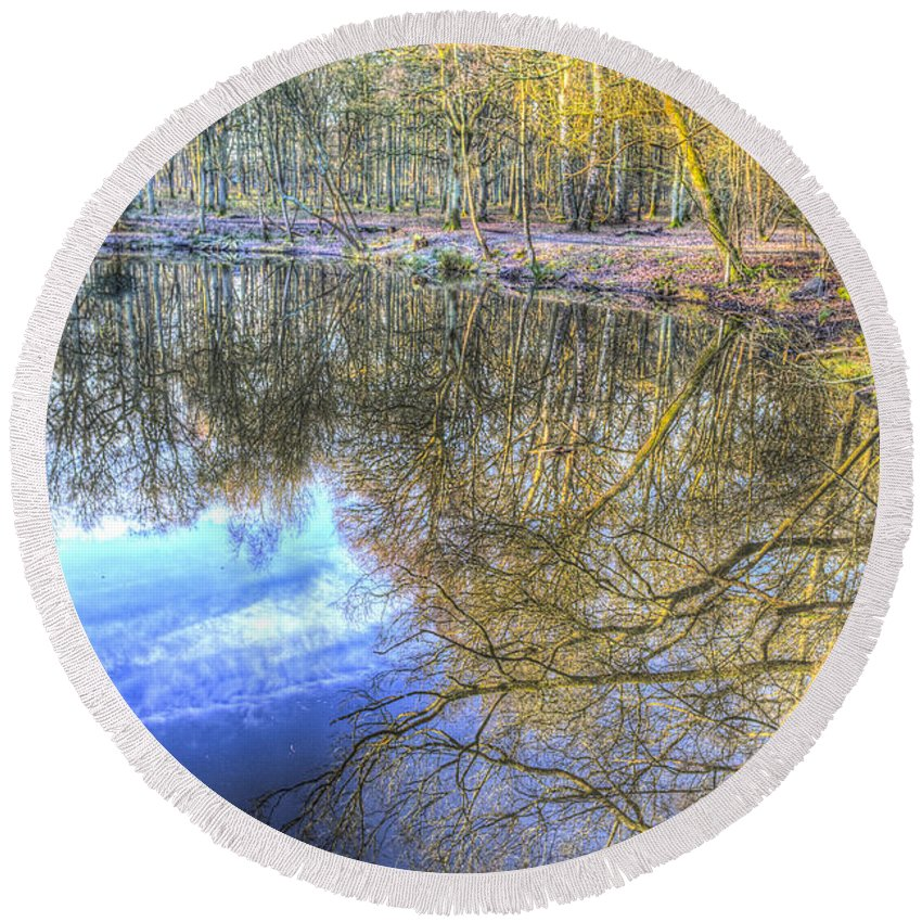 Frost Round Beach Towel featuring the photograph Peaceful Pond Reflections by David Pyatt