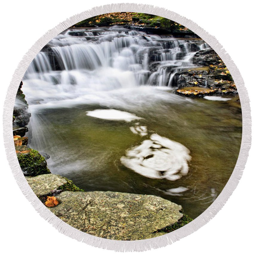 Peaceful Round Beach Towel featuring the photograph Peaceful Pool Waterfall by Christina Rollo