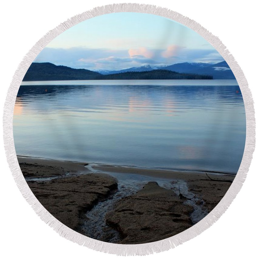 Beach Round Beach Towel featuring the photograph Peaceful Priest Lake by Carol Groenen