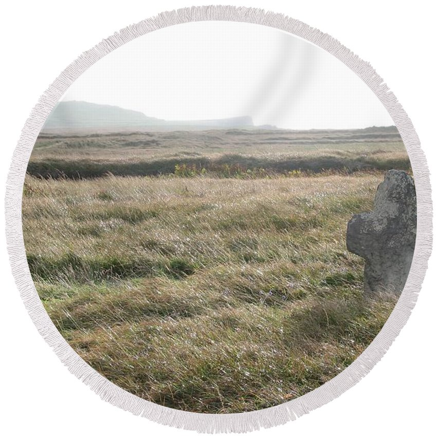 Midievil Round Beach Towel featuring the photograph Peaceful Rest by Kelly Mezzapelle