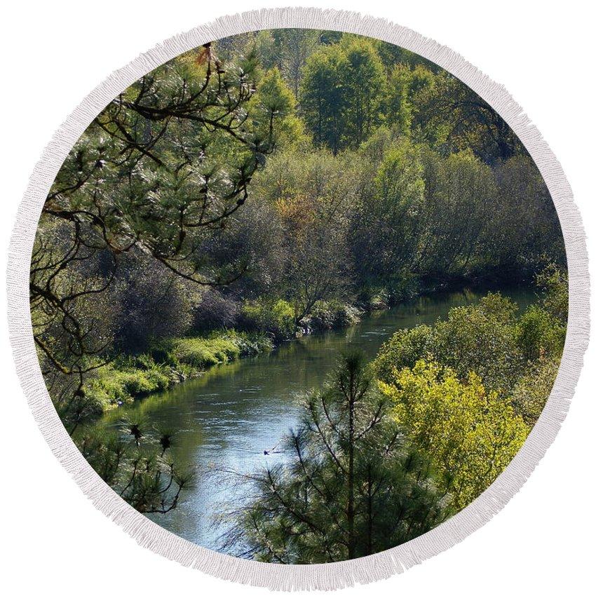 Nature Round Beach Towel featuring the photograph Peaceful River by Ben Upham III