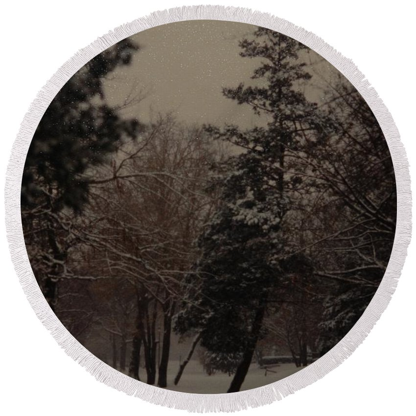 Lights Round Beach Towel featuring the photograph Peaceful Snow Dusk by Rob Hans