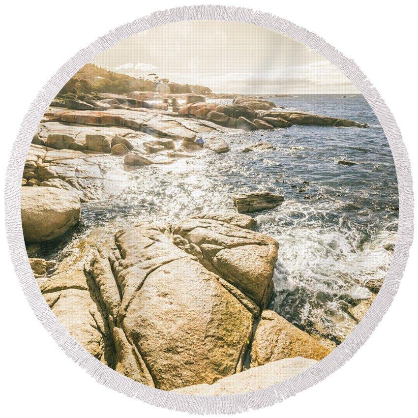 Coast Round Beach Towel featuring the photograph Peaceful Sun Flared Australian Coastline by Jorgo Photography - Wall Art Gallery