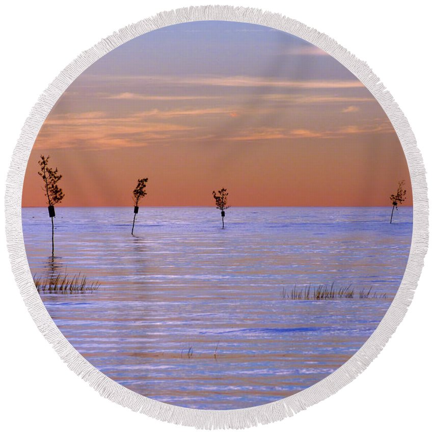 Cape Cod Round Beach Towel featuring the photograph Peaceful View by Sharon Eng