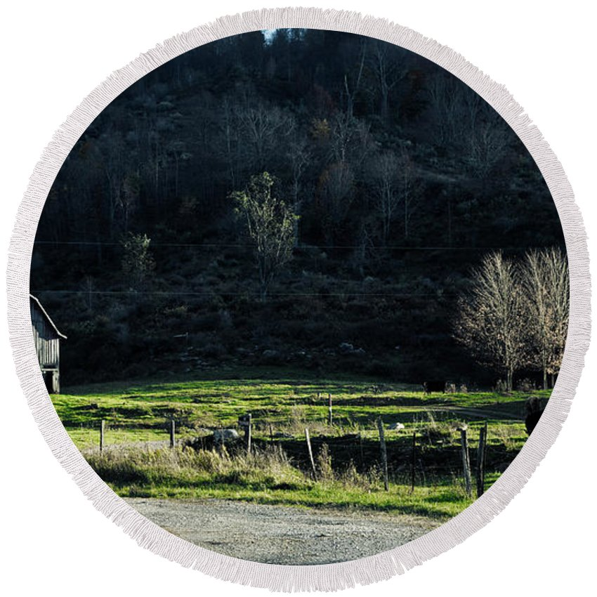 Barn Round Beach Towel featuring the photograph Peaceful West Virginia Valley by Mountain Dreams