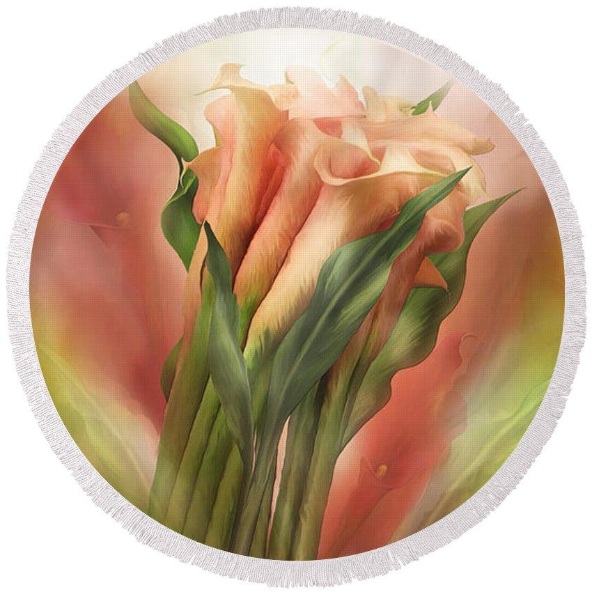 Calla Lilies Round Beach Towel featuring the mixed media Peach Calla Lilies In Calla Vase by Carol Cavalaris