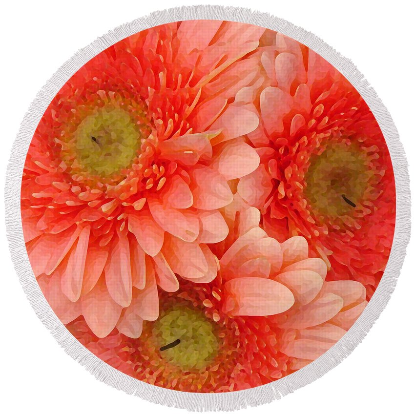 Floral Round Beach Towel featuring the painting Peach Gerbers by Amy Vangsgard