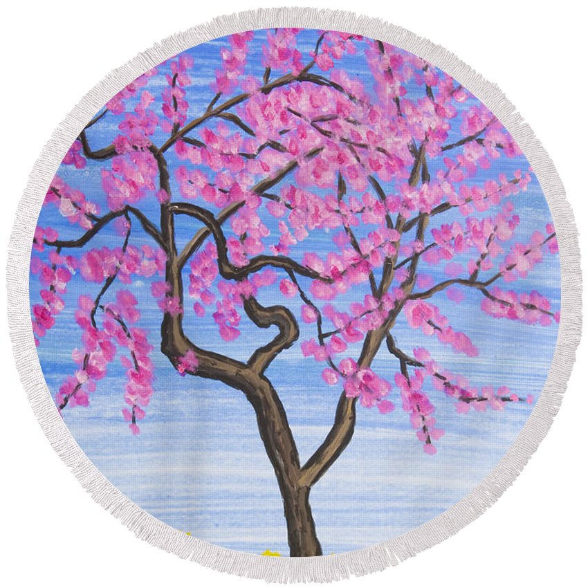 Pink Round Beach Towel featuring the painting Peach Tree, Painting by Irina Afonskaya