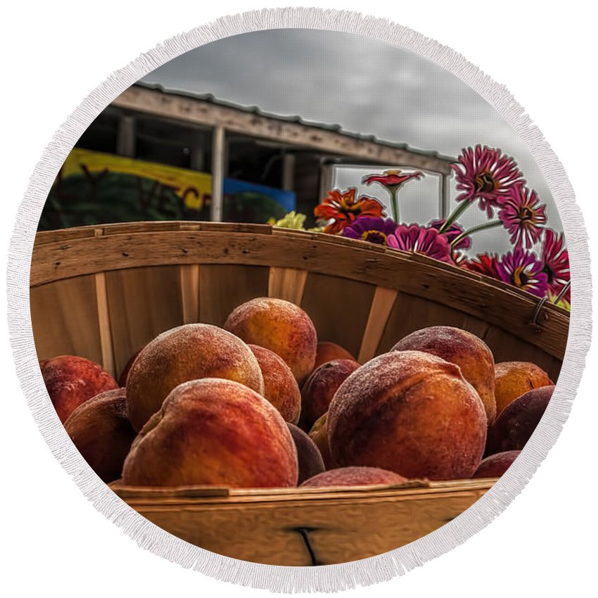 Bright Round Beach Towel featuring the photograph Peaches by Maria Coulson