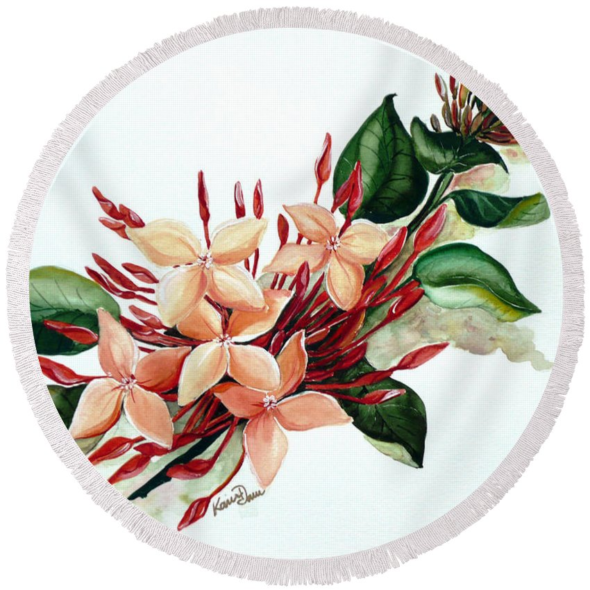 Floral Peach Flower Watercolor Ixora Botanical Bloom Round Beach Towel featuring the painting Peachy Ixora by Karin Dawn Kelshall- Best