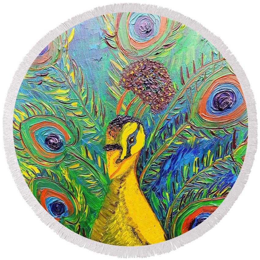 Blue Peacock Round Beach Towel featuring the painting Peacock Blue by Elizabeth Goodermote