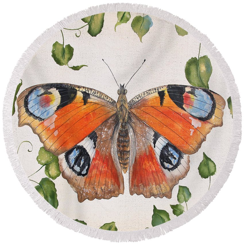 Butterfly Round Beach Towel featuring the painting Peacock Butterfly-jp3878 by Jean Plout