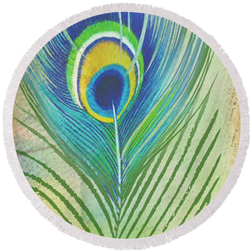 Peacock Round Beach Towel featuring the painting Peacock Feathers-jp3609 by Jean Plout