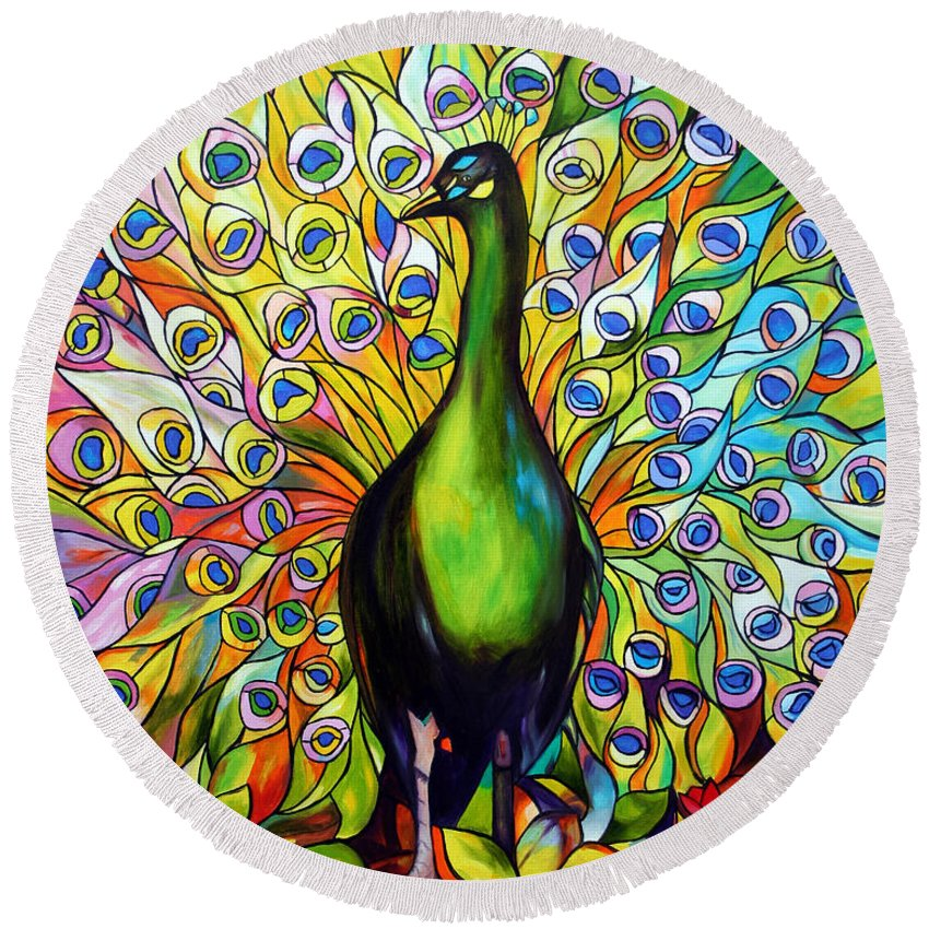 Bird Round Beach Towel featuring the painting Peacock by Jose Manuel Abraham