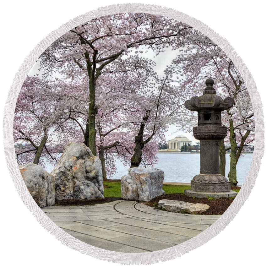 Sakura Round Beach Towel featuring the photograph Peak-a-boo by Edward Kreis