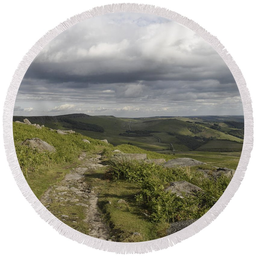 Stanage Edge Round Beach Towel featuring the photograph Peak Path by Kevin Round