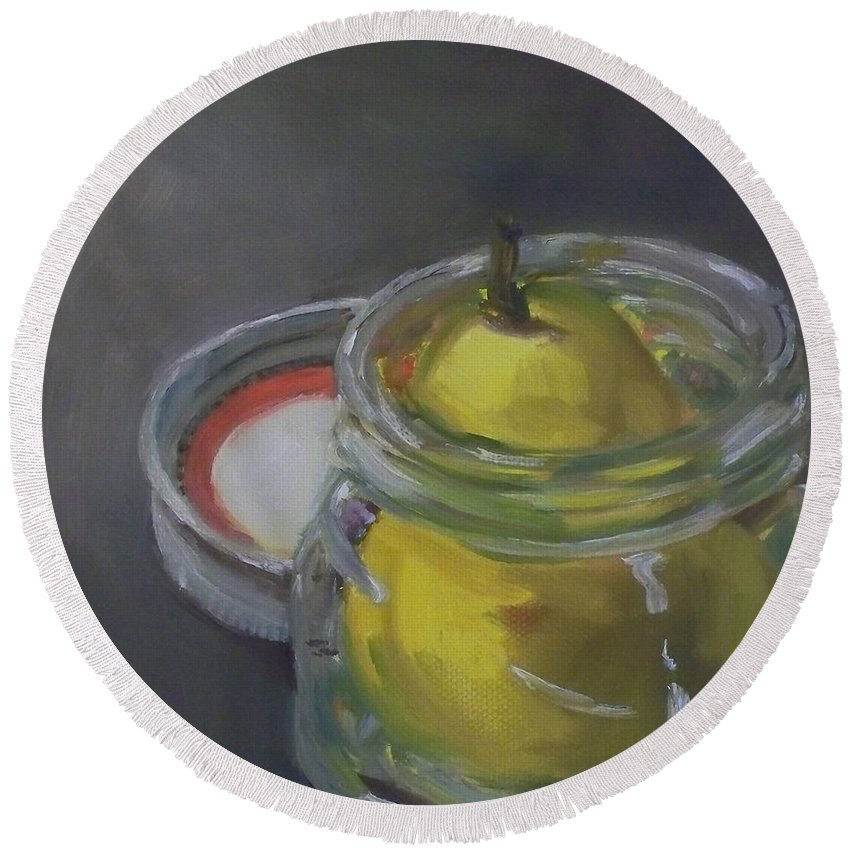 Pear Round Beach Towel featuring the painting Pear Jam by Kristine Kainer