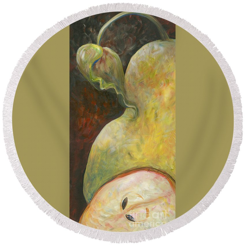 Red Round Beach Towel featuring the painting Pear by Nadine Rippelmeyer