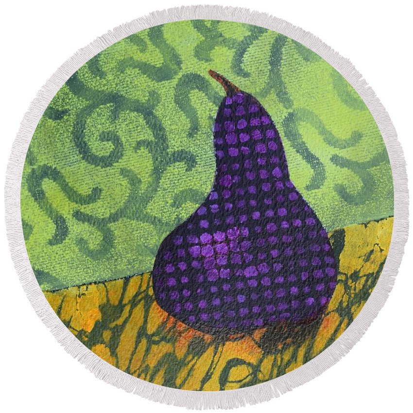 Pear Round Beach Towel featuring the painting Pear Patterns by Nancy Jolley