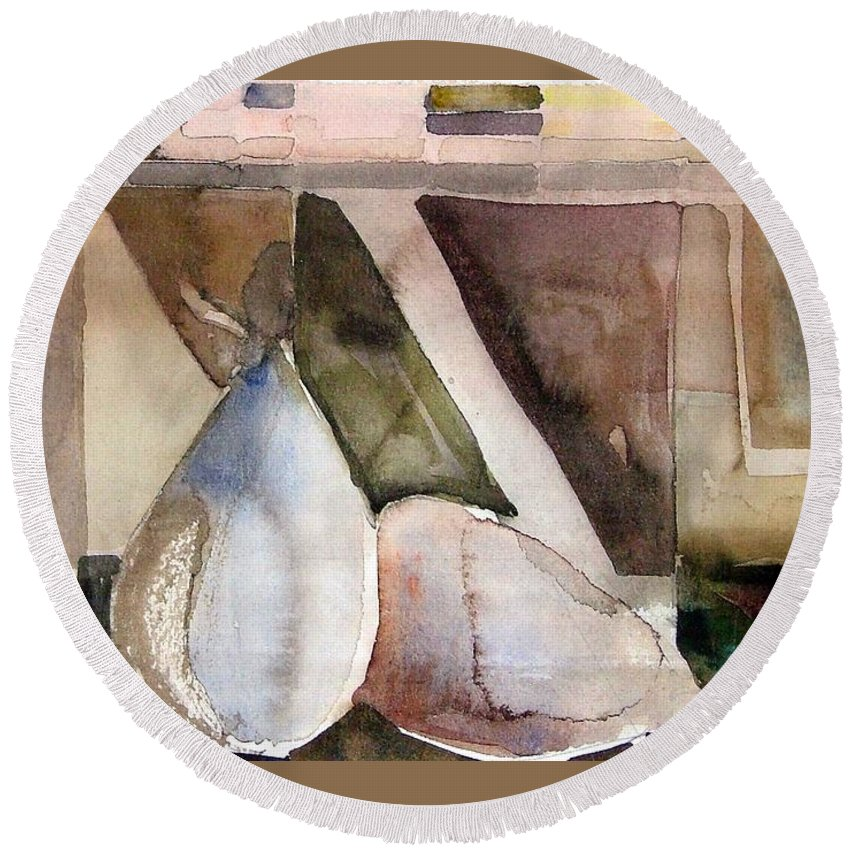 Pear Round Beach Towel featuring the painting Pear Study in Watercolor by Mindy Newman
