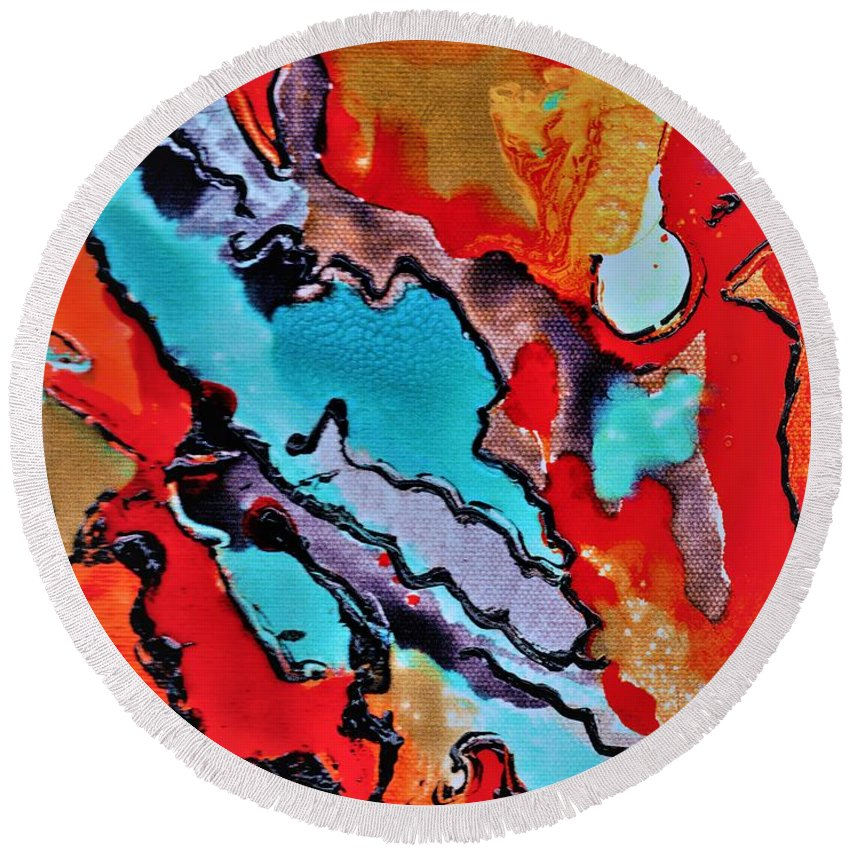 Abstract Round Beach Towel featuring the mixed media Pearl Of A Great Price by Carliss Prosser