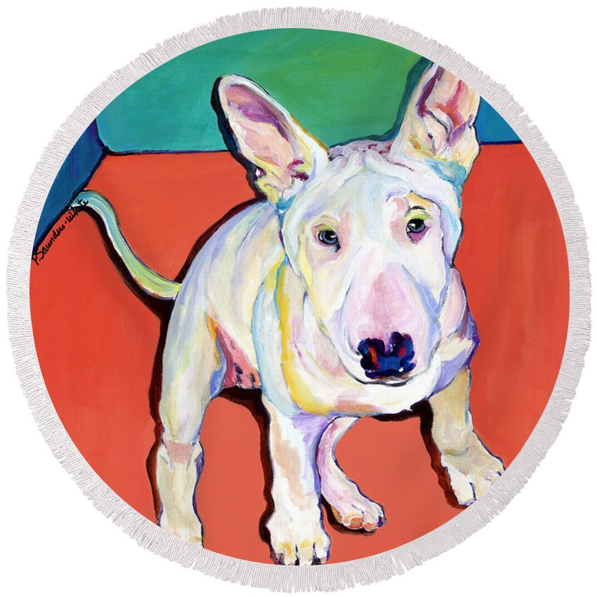 Pet Portrait Commissions Round Beach Towel featuring the painting Pearl by Pat Saunders-White