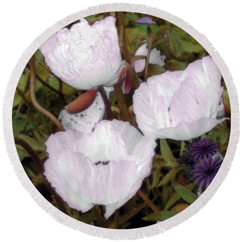 Blooms Round Beach Towel featuring the digital art Pearlblossoms by RC deWinter