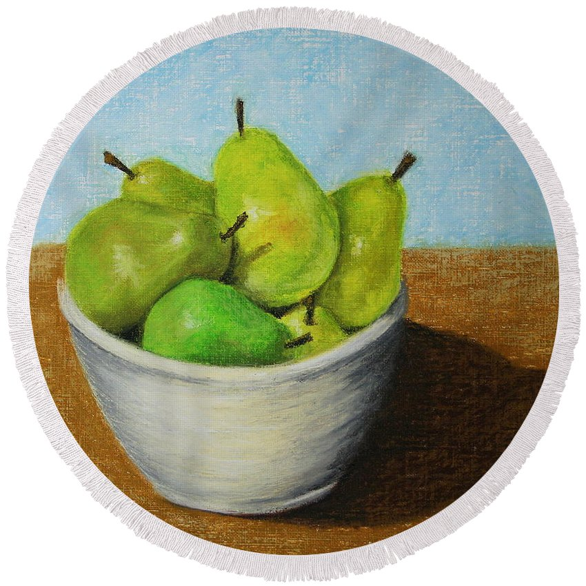 Pears Round Beach Towel featuring the painting Pears In Bowl 2 by Marna Edwards Flavell
