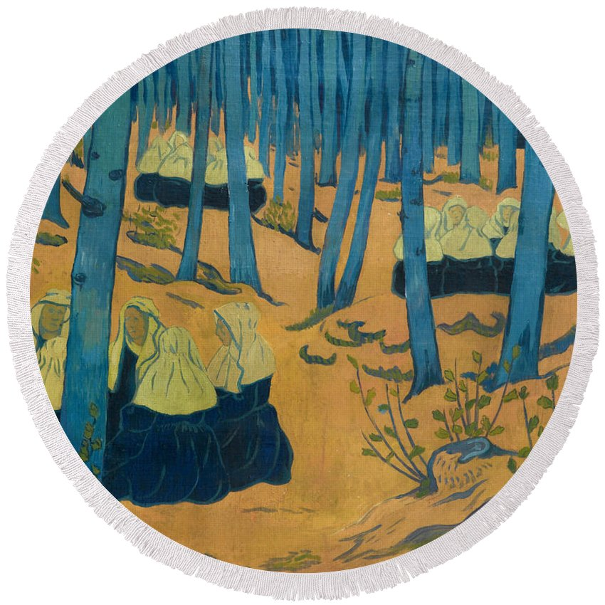 Paul Serusier Round Beach Towel featuring the painting Peasants Gathered In A Sacred Wood_ by Paul Serusier