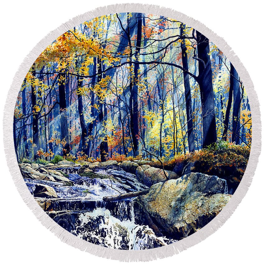 Pebble Creek Autumn Round Beach Towel featuring the painting Pebble Creek Autumn by Hanne Lore Koehler
