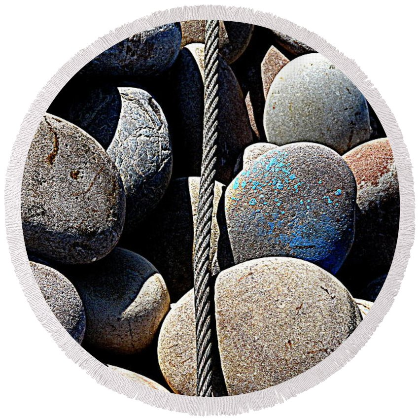 Pebbles Round Beach Towel featuring the photograph Pebbles And Cable by Andy Thompson
