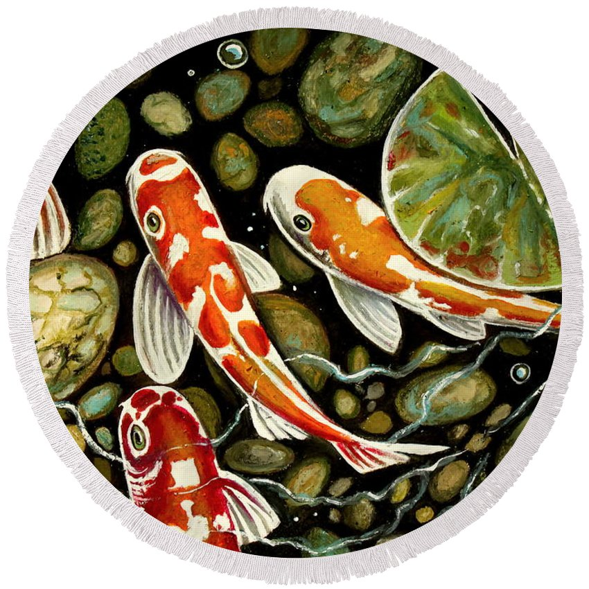 Koi Fish Round Beach Towel featuring the painting Pebbles And Koi by Elizabeth Robinette Tyndall