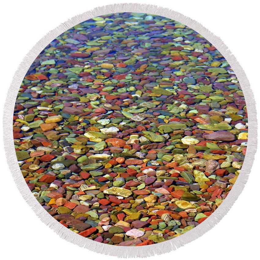 Water Round Beach Towel featuring the photograph Pebbles by Marty Koch