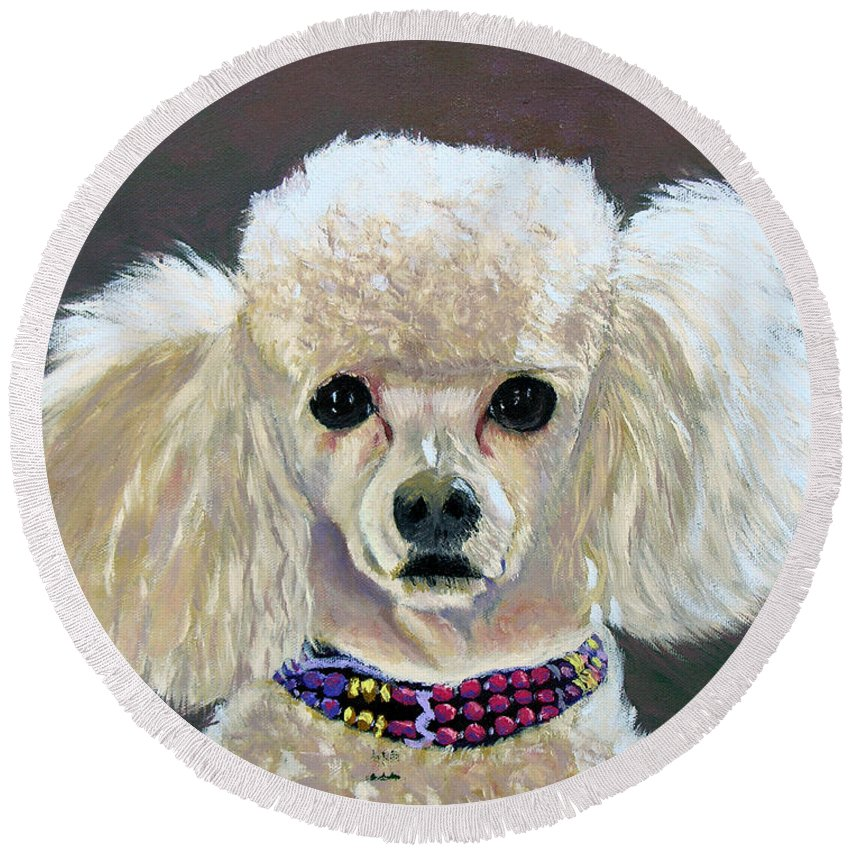 Dog Round Beach Towel featuring the painting Pebbles by Stan Hamilton