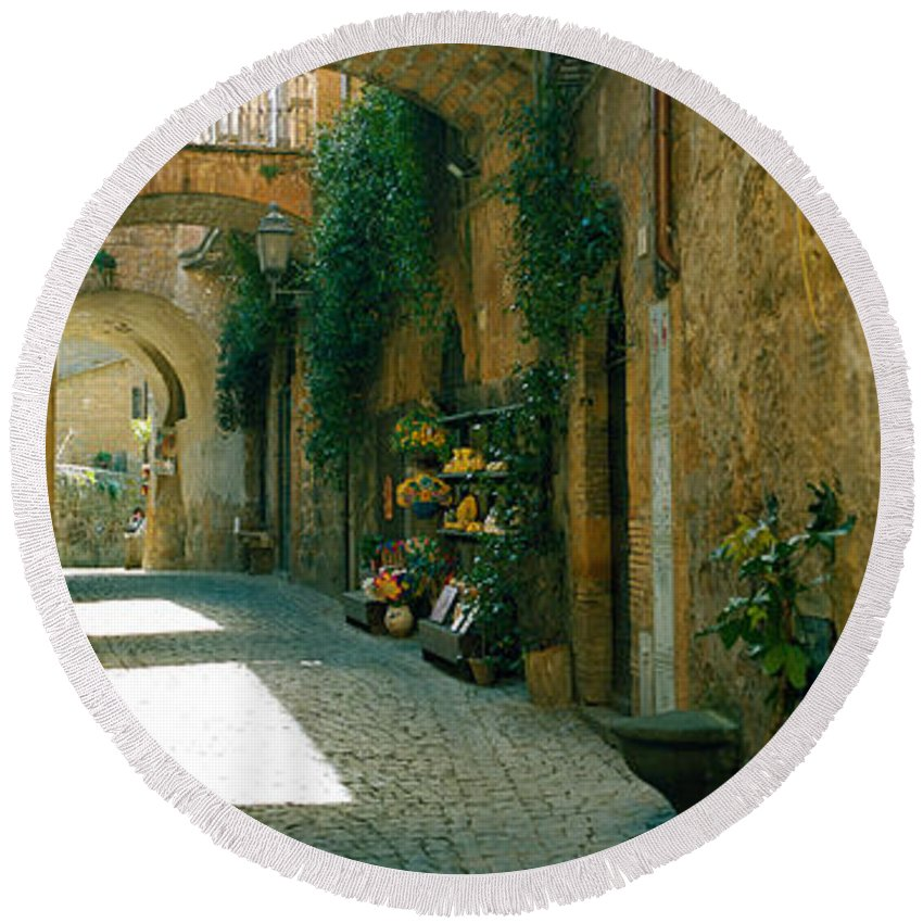Photography Round Beach Towel featuring the photograph Pedestrian Walkway, Orvieto, Umbria by Panoramic Images