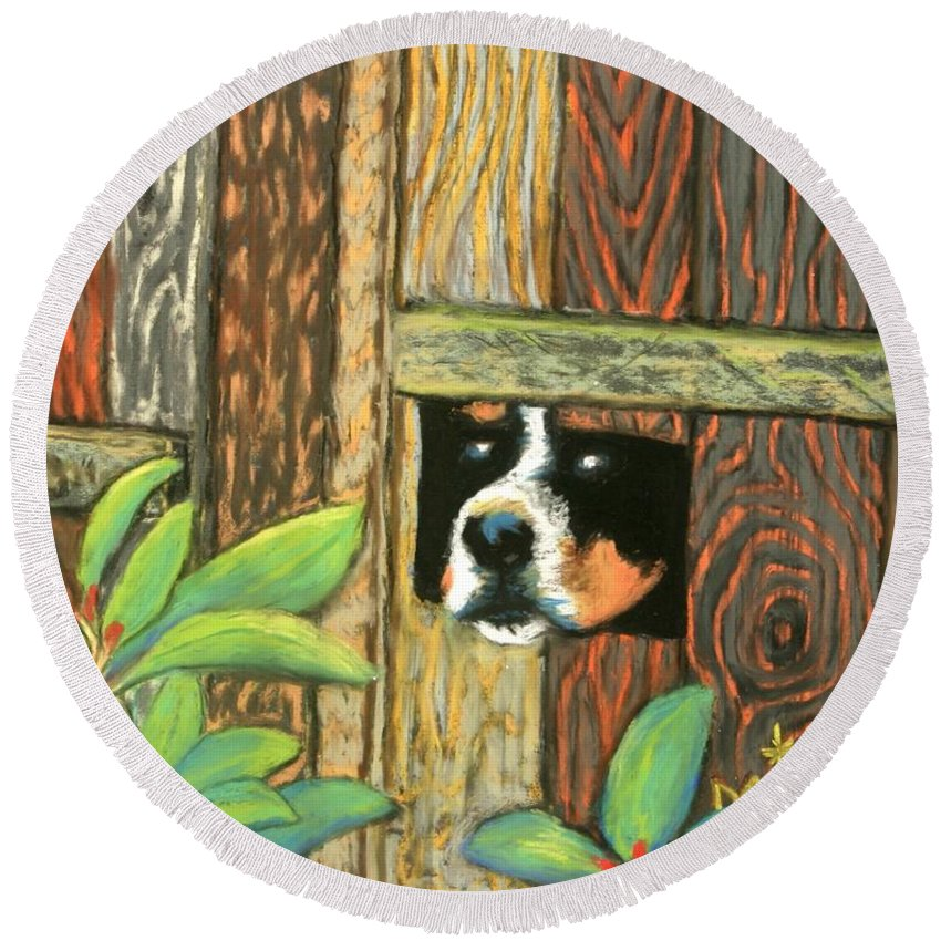 Dog Round Beach Towel featuring the painting Peek-a-boo Fence by Minaz Jantz