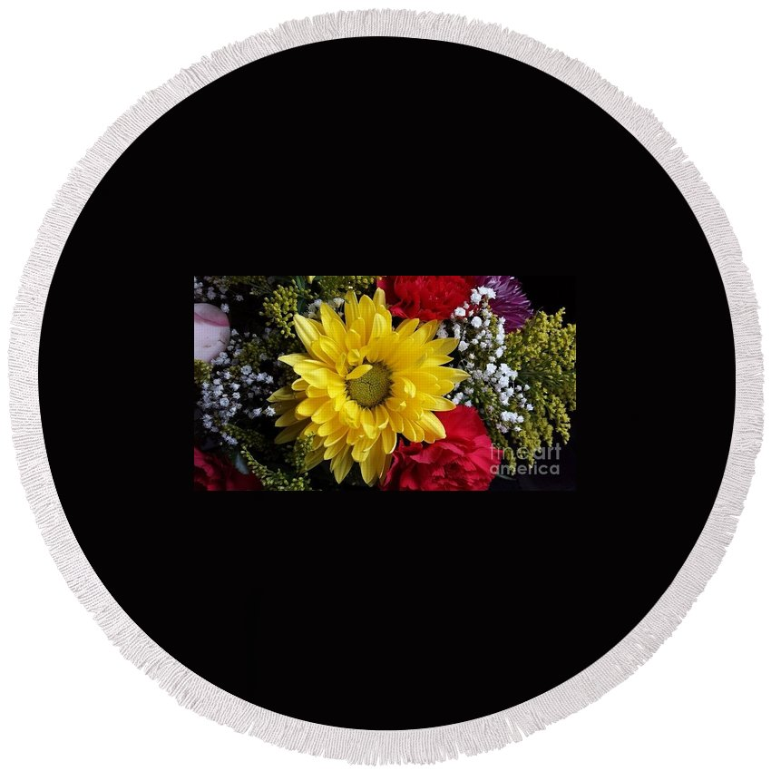 Flowers Round Beach Towel featuring the photograph Peek A Boo Sunshine by Becky Lupe