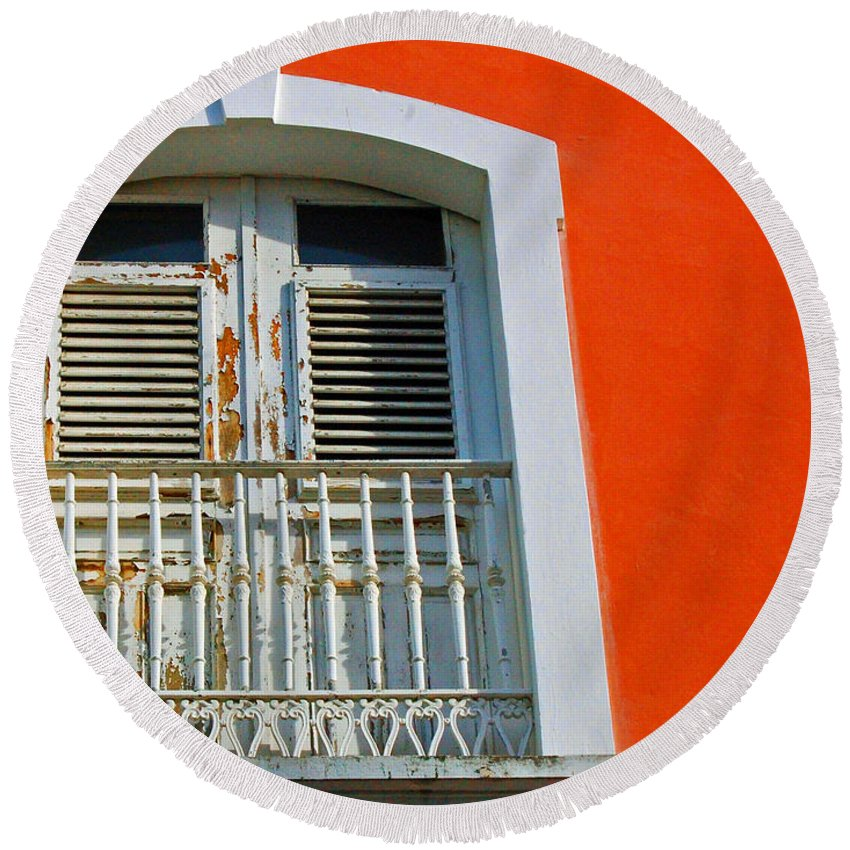 Shutters Round Beach Towel featuring the photograph Peel An Orange by Debbi Granruth