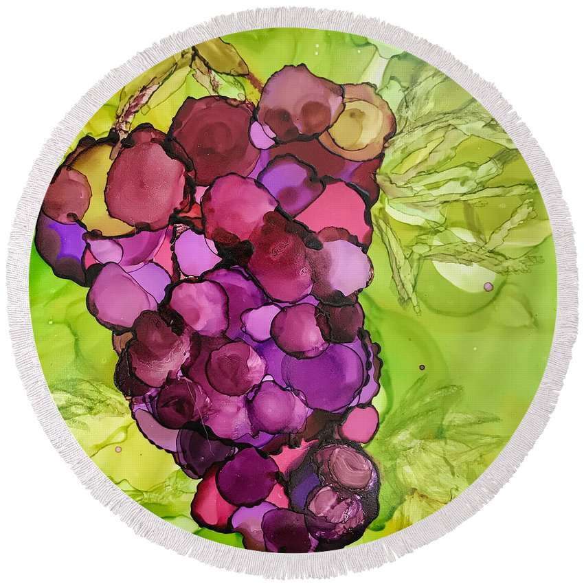 Alcohol Ink Painting Round Beach Towel featuring the ceramic art Peel Me A Grape by Susi Schuele