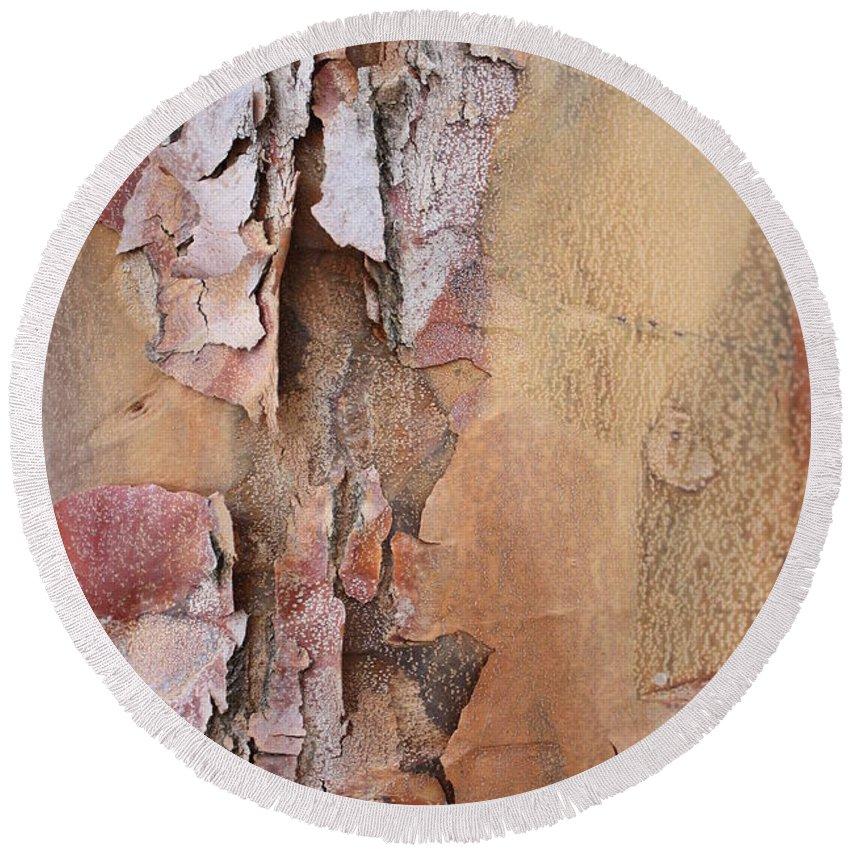 Bark Round Beach Towel featuring the photograph Peeling Bark by Carol Groenen