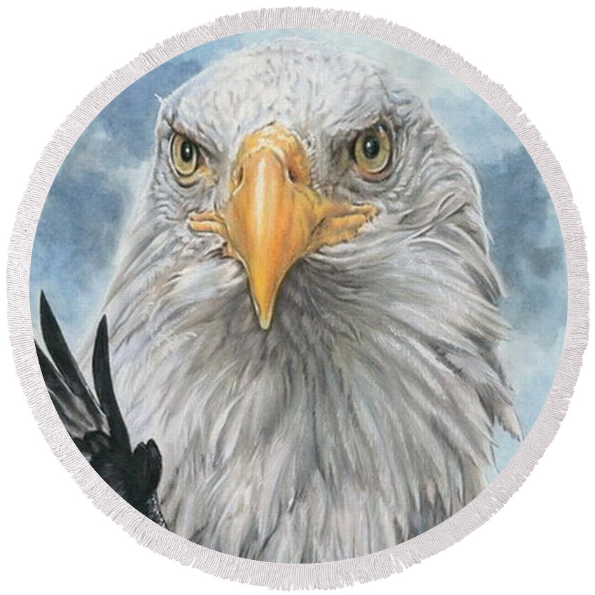 Bald Eagle Round Beach Towel featuring the mixed media Peerless by Barbara Keith