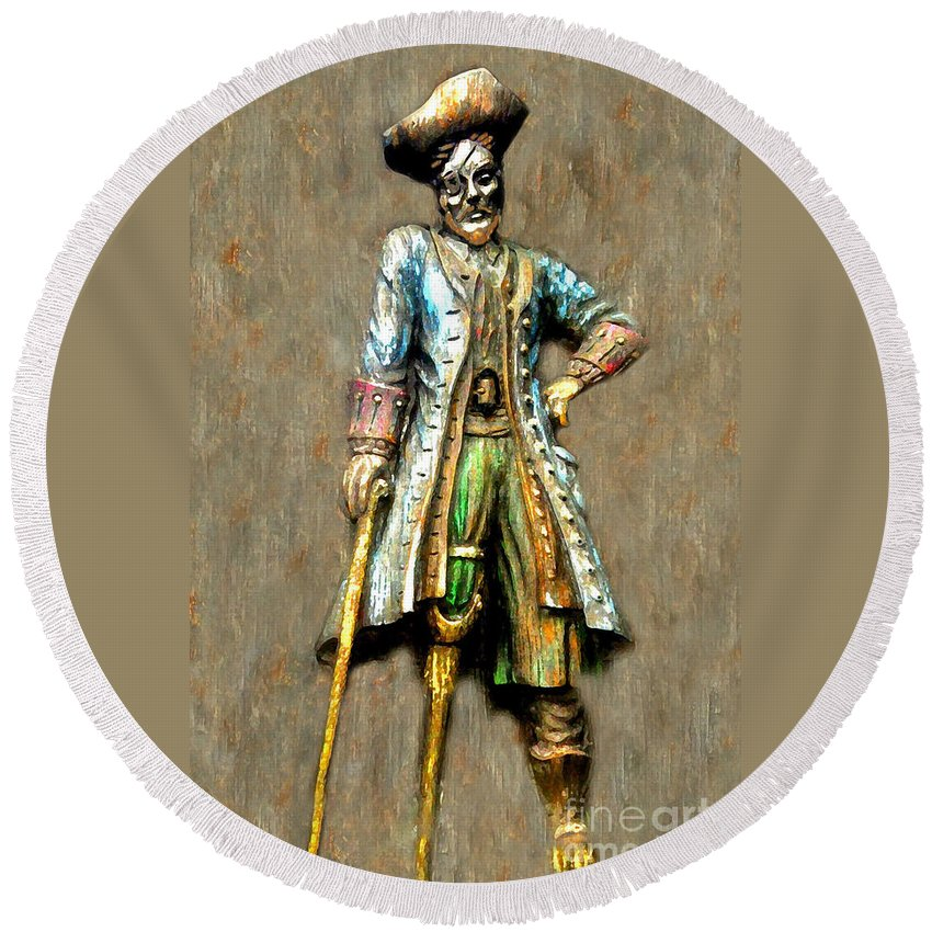 Pirate Round Beach Towel featuring the painting Peg Leg by David Lee Thompson