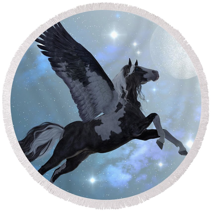 Pegasus Round Beach Towel featuring the painting Pegasus Flight by Corey Ford