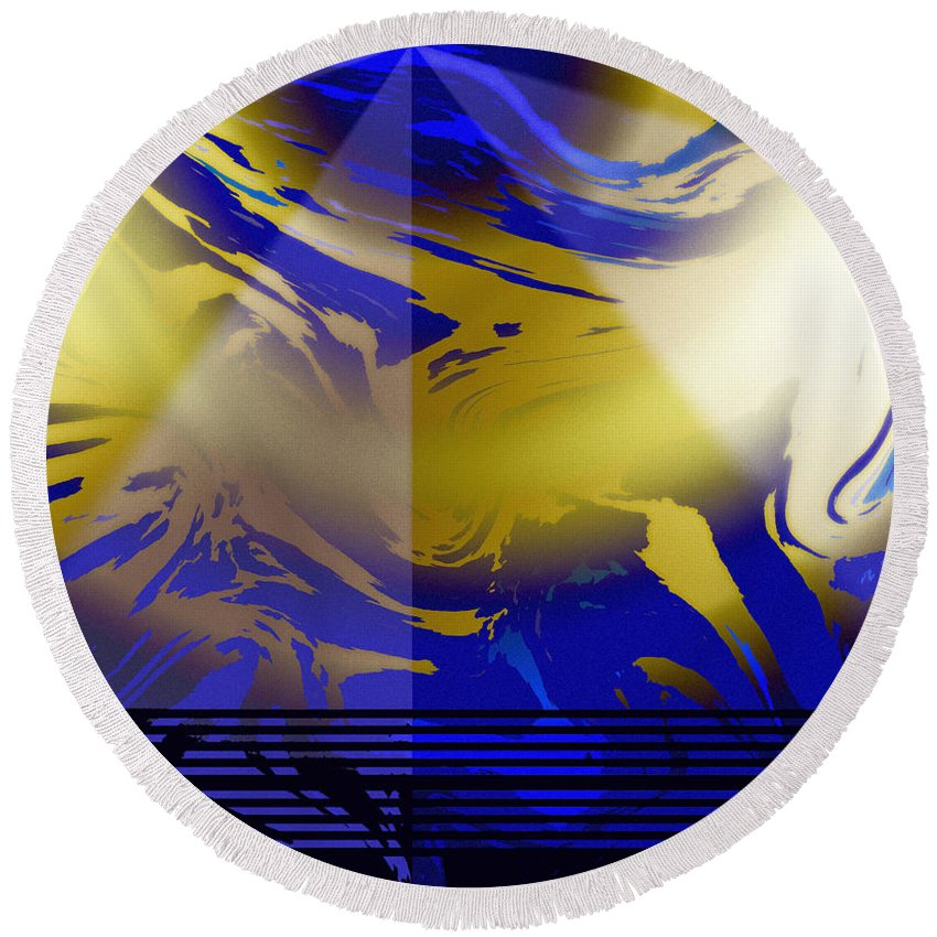 Abstract Round Beach Towel featuring the digital art Pegasus From Above by Ian MacDonald