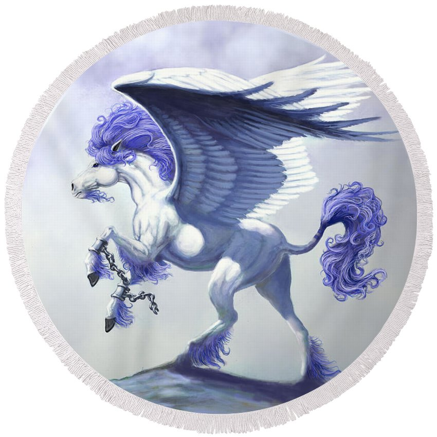 Pegasus.fantasy Round Beach Towel featuring the digital art Pegasus Unchained by Stanley Morrison