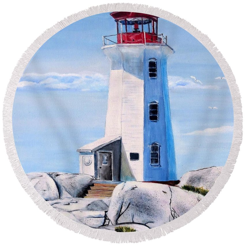 Peggy's Cove Round Beach Towel featuring the painting Peggy's Cove Lighthouse by Marilyn McNish