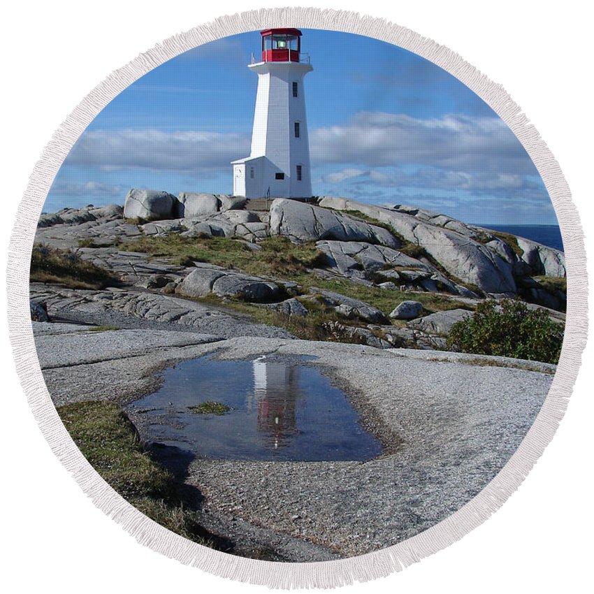 Seascape Round Beach Towel featuring the photograph Peggys Cove Nova Scotia Canada by Heather Coen