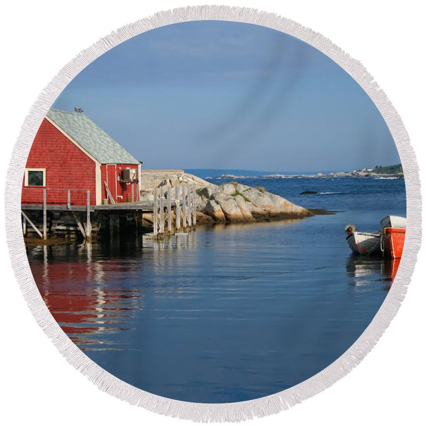 Peggy's Cove Round Beach Towel featuring the photograph Peggys Cove by Thomas Marchessault