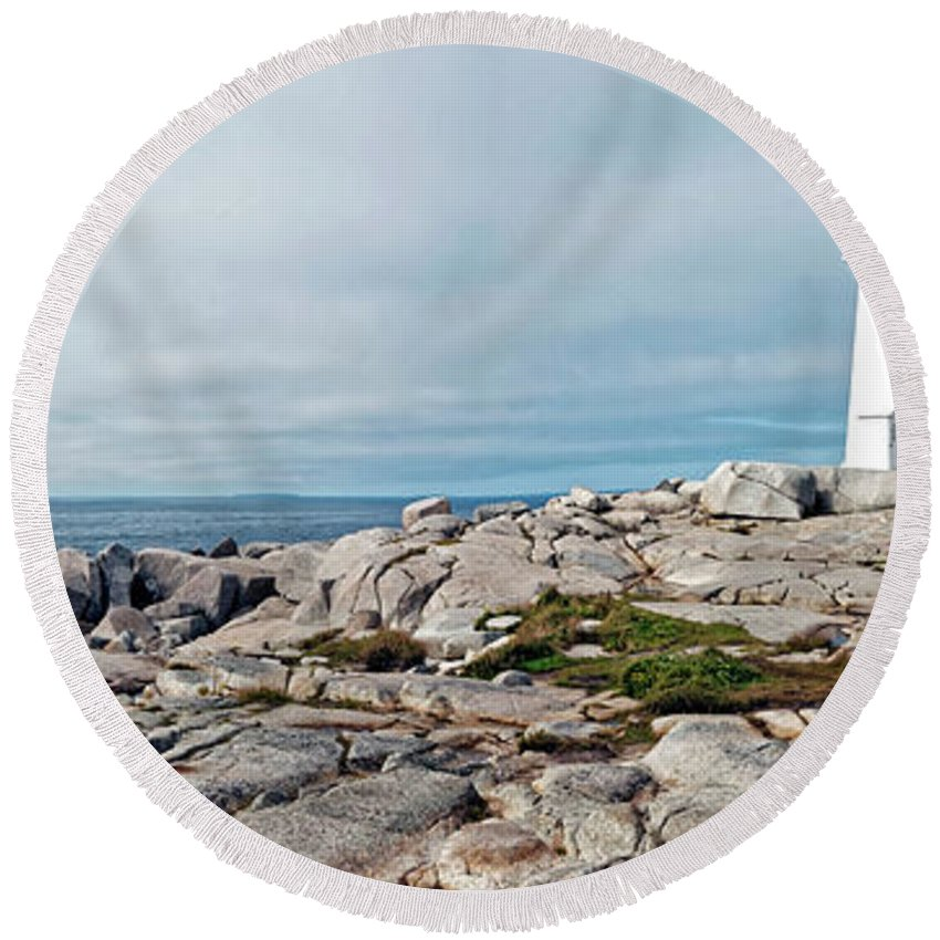 Nova Scotia Round Beach Towel featuring the photograph Peggy's Point Lighthouse by Noel Baebler