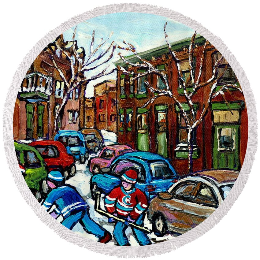 Original Montreal Paintings For Sale Round Beach Towel featuring the painting Peintures De Montreal Scene De Pointe St Charles Rue Grand Trunk by Carole Spandau
